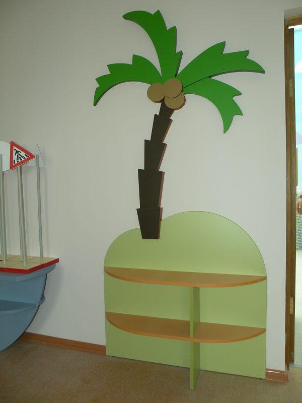Стеллаж остров с пальмой. Мебель для детского сада в Калининграде